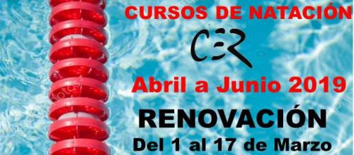 RENOVACIÓN CURSOS DE NATACIÓN abril a junio 2019